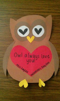 """Valentine's Day Owl Craft """"Whooo Loves You? Owl Theme Classroom, Classroom Crafts, Preschool Crafts, Crafts For Kids, Arts And Crafts, Classroom Ideas, Mothers Day Crafts, Valentine Day Crafts, Be My Valentine"""