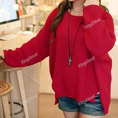 Irregular Hem Round Neck Knitwear Knitted Sweater Knitting Shirt with Long Batwing Sleeves for Women Lady NWK-100809