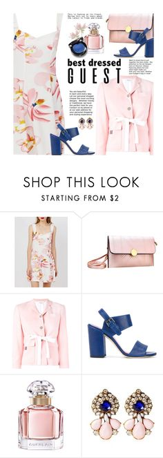"""""""Wedding: Best Dressed Gueast"""" by beebeely-look ❤ liked on Polyvore featuring Thom Browne, Stuart Weitzman, Guerlain, Christina Choi Cosmetics, wedding, floraldress, bestdressedguest and twinkledeals"""