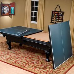Ping Pong/ Pool table for Ryan – would love this in the game room…when it finally becomes a game room and not a playroom! Ping Pong/ Pool table for Ryan – would love this in the game room…when it finally becomes a game room and not a playroom! Table Tennis Conversion Top, Custom Pool Tables, Pool Table Room, Diy Pool Table, Game Room Basement, Attic Game Room, Garage Game Rooms, Basement Ideas, Dark Basement
