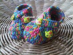 Scarpine alluncinetto di lana Baby fatte a mano di Handmadesfiopi