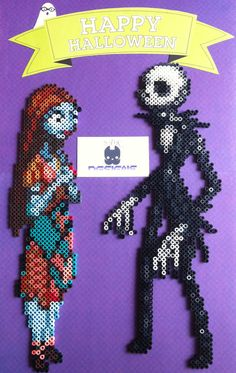 Jack and Sally The Nightmare Before Christmas Perler Bead Sprite Art by SDKD