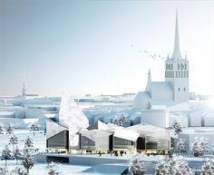Danish architects Bjarke Ingels Group have won an international competition to design a new town hall in Tallinn, Estonia. Within the cluster of Famous Architecture, Architecture Visualization, Architecture Drawings, Contemporary Architecture, Architecture Design, Contemporary Museum, Architecture Graphics, Big Architects, 3d Models