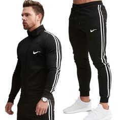 Men Coats and pants Suit Casual Fashion Sportswear Sweatshirt/Sweatpants Male Fitness Joggers Brand Tracksuit Trousers. Style Casual, Men Casual, Running Suit, Running Sports, Tracksuit Jacket, Workwear Fashion, Men's Fashion, Man Set, Sport Pants