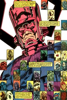 The many faces of Galactus from Fantastic Four #262 by John Byrne. Colors by Glynis Wein. 1984.