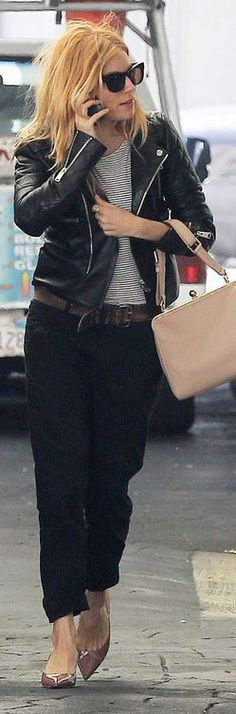 Who made  Sienna Miller's black leather jacket that she wore in Beverly Hills on March 6, 2014?