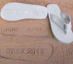 Really cute idea. Custom Wedding Sandals for a beach wedding. Personalize With Your Own Sand Imprint Design. if I ever have a beach wedding. Summer Wedding, Our Wedding, Wedding Gifts, Dream Wedding, Bridal Gifts, Wedding Ceremony, Beach Ceremony, Pizza Wedding, Cake Wedding