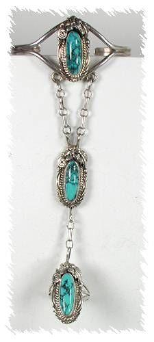 Vintage Navajo Sterling Silver Turquoise Slave Bracelet