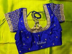 Contrast royal blue bridal blouse for a neon green traditional silk saree ! Ping on 9884179863 to book an appointment. Kids Blouse Designs, Simple Blouse Designs, Stylish Blouse Design, Wedding Saree Blouse Designs, Pattu Saree Blouse Designs, Silk Saree Blouse Designs, Traditional Blouse Designs, Blue Bridal, Royal Blue Saree