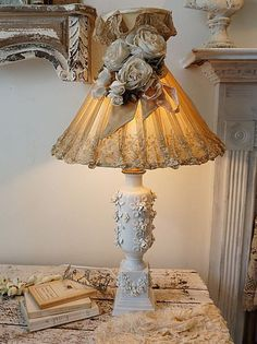 White porcelain rose table lamp w/ antique tambour lace lampshade shabby cottage chic vintage ornate lighting home decor anita spero design
