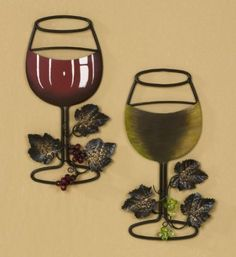 Amazon Com Wall Metal Wine Art Red Wine White Wine Glass Set