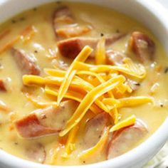 Wisconsin Brats and Beer Cheddar Chowder Recipe | Just A Pinch Recipes