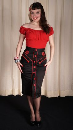 Hell Bunny Western Rose Skirt