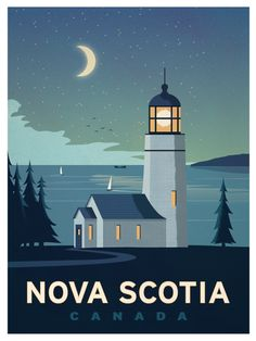 Vintage Travel Travel Poster from IdeaStorm Nova Scotia Canada - Size - Digital Print on 80 lb cover matte white *SHIPPING DETAILS* Items will be mailed out in tubes within 3 days after order. Nova Scotia, Poster Art, Gig Poster, Travel Illustration, Digital Illustration, Vintage Travel Posters, Canada Travel, Canada Canada, Alberta Canada