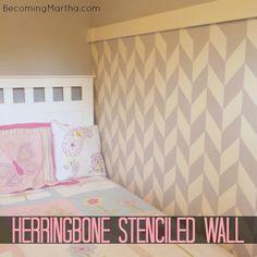 Becoming Martha: A Herringbone Wall + How NOT to Stencil a Wall