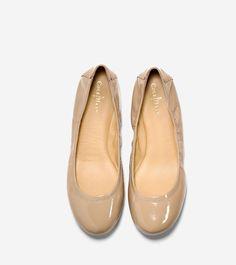 32aa64706ec Cole Haan Manhattan Ballet Flat - Sandstone Patent 10.5 B Medium Leather  Socks