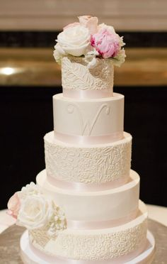 Classic five tier white and pink flower topped wedding cake; Via Sweet Fix RVA