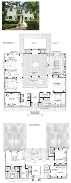 Gorgeous French villa plan with center courtyard and outdoor dining area