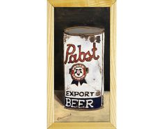Home Bar Decor, Beer Art, Pabst Blue Ribbon, A Little Party, Anniversary Gifts For Husband, Beer Lovers, Gold Paint, Wood Paneling, Boyfriend Gifts