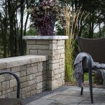 Using a column for an endcap adds a finished look to a retaining wall, landscape wall or seat wall. Belgard Pavers, Modern Outdoor Living, Outdoor Fun, Outdoor Decor, Wall Seating, Landscape Walls, Concrete Patio, Architectural Elements, Patio Ideas
