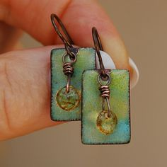 Torched Enamel and Glass Sequin Earrings by Pobbletoes on Etsy