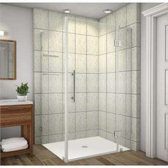 Avalux GS 40 in. x 38 in. x 72 in. Completely Frameless Shower Enclosure with Glass Shelves in Stainless Steel