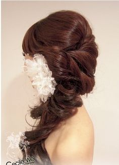without the flower and down the back not over the shoulder
