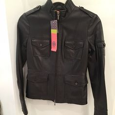 TORY BURCH BLACK LEATHER JACKET! A BEAUTY! ♏️ TORY BURCH BLACK LEATHER JACKET.. ZIPPS IN FRONT, SIVER METAL THROUGH OUT! NEW WITH TAGS!! Make an OFFER!! Tory Burch Jackets & Coats