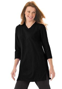 Woman Within Plus Size Top, The Perfect Tunic With 3/4 Sleeves $6.99