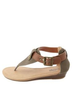 two-toned canvas thong sandals