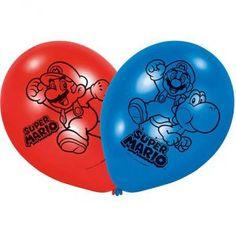 Ce sachet contient 6 ballons bleus et rouges. Des motifs noirs représentant Mario™ et Yoshi™, sont imprimés sur toute la surface du ballon.  Chacun mesure environ 23 cm de diamètre.  Ces ballons pourront être gonflés à l'air ou à l'hélium.  Ces ballons Su