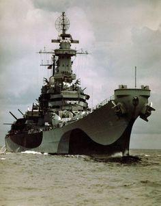 Battleship USS Missouri on her Atlantic shakedown cruise August 1944.