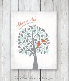 Bridal Shower Gift Love Birds in a Tree by 7WondersDesign on Etsy
