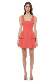 Image 3 of Miya Skater Mini Dress with Peplum and Square Neckline · Coral Orange…