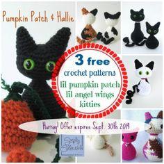 Hallie Cat and Kitten in the Lil Pumpkin Patch Amigurumi Crochet Patterns