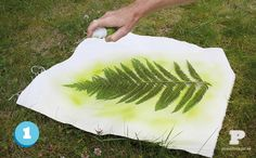 Fabric spray paint with stencils from nature