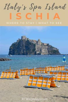 Known for its mineral-rich thermal waters, the volcanic island of Ischia Italy is home to spa towns, beach resorts, gardens and one very impressive castle.  #travel #italy #ischia #spa #hotsprings #islands #castle