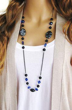 Nero perline collana lunga lunga blu collana di RalstonOriginals