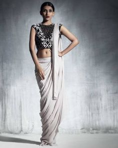 Ecru Draped Saree I Shop at:http://www.thesecretlabel.com/babita-malkani