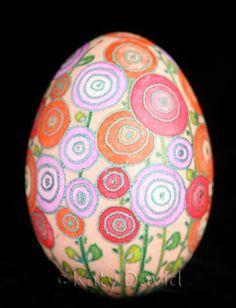 ©Katy David Friday Egg: Hot Day Hollyhocks Goose Egg pysanky