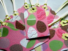 Easter Egg Gift Tags With Yellow Ribbon Set of by ClaireMDesigns2
