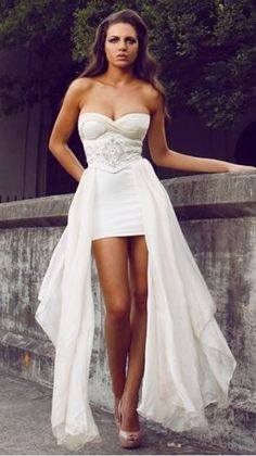 Incredibly Wedding Dress with Detachable high-low hemline skirt. Big dress for the ceremony and take them off for the reception!