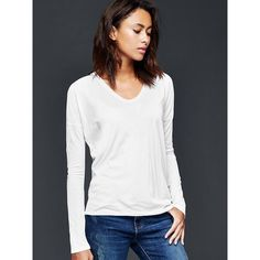 Gap Women Dolman Long Sleeve Soft Tee (295 ZAR) ❤ liked on Polyvore featuring tops, t-shirts, regular, white, white long sleeve tee, white tee, long sleeve t shirt, long tee and long t shirts