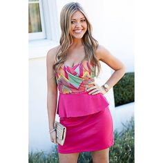 ❗️CCO❗️Neon Sweetheart Peplum Dress Brand new without tags/perfect for spring! Judith March Dresses