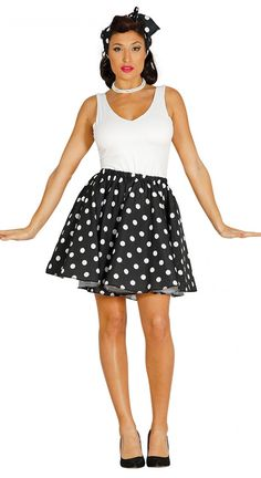 Fiestas Guirca- Pin Up Anni 50 Costume Gonna a Pois Colore Nero Bianco Taglia única 84509 Rock And Roll Costume, Rock Costume, Cartoon Costumes, Adult Costumes, Costumes For Women, Pin Up Negras, Pin Up Noire, Housewife Costume, 1950s Housewife