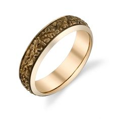 Van Craeynest hand-engraved Art Deco men's wedding ring, design No. 860 with oak leaves and acorns, in yellow gold.
