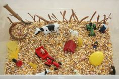 Farm animal sensory table #preschool #ece
