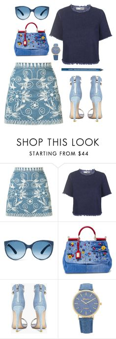 """Head To Toe Denim"" by styleskater7 ❤ liked on Polyvore featuring Alice + Olivia, Topshop, Mosevic, Dolce&Gabbana, Boohoo, NYX, outfit, denim, skirt and Heels"