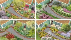Front Yard Landscape 4 Ways ~  Enhance curb appeal with an attractive entryway landscape. Four garden plans are customized for Southwest, Southeast, Northwest, and North-Central yards.