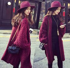 Fall Winter Burgundy Chunky Knitted Loose Fit Long Cardigan. Knitwear